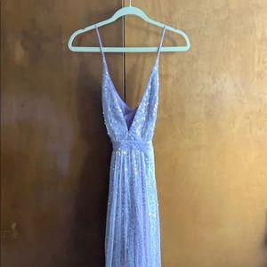LULU'S Jane Ann Lavender Sequin Maxi Dress